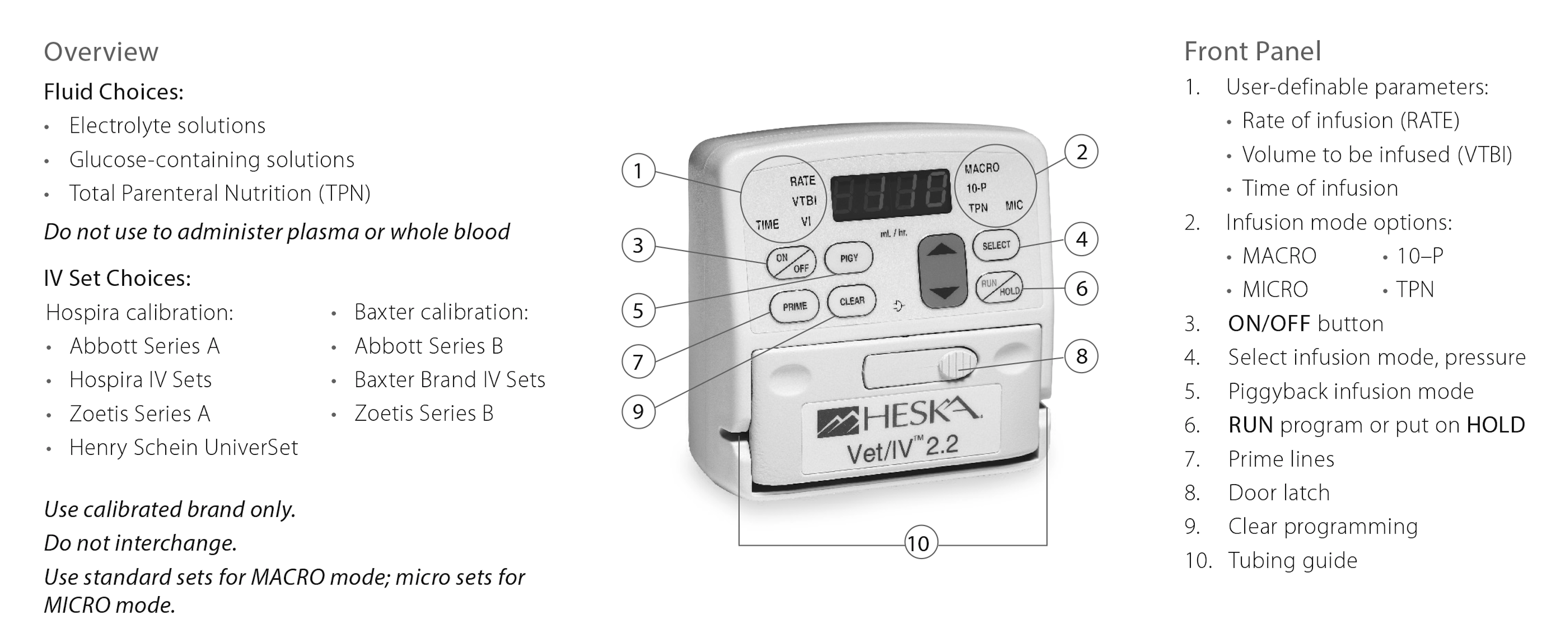 Vet/IV 2.2 Infusion Pump Diagram